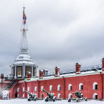 Peter and Paul Fortress in Saint-Petersburg, Russia at winter
